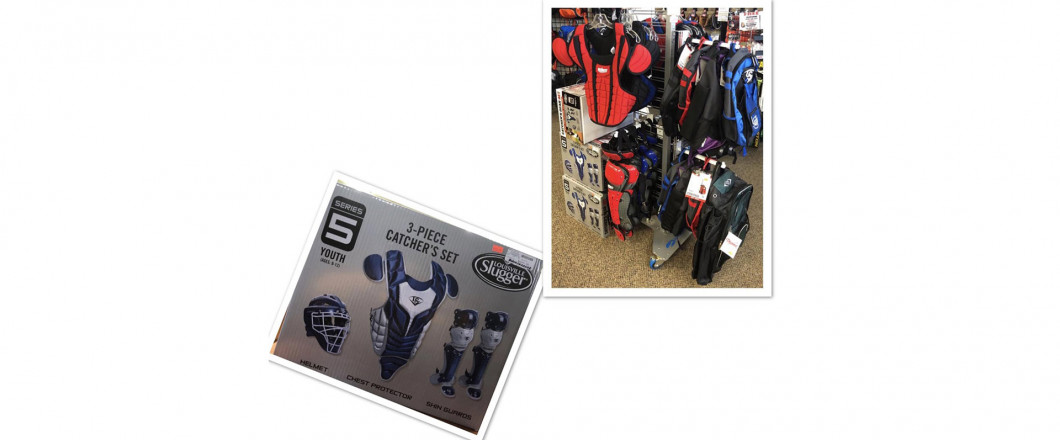 Louisville complete catcher sets for 9-12 years old & Schutte catcher's gear clearance priced at $20.00 off